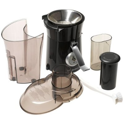 Juice cup, removable pulp bin, and cleaning brush included; dishwasher-safe parts